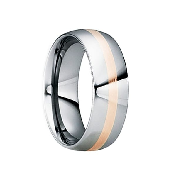 CNAEUS Tungsten Carbide Wedding Band with 18K Rose Gold Inlay by Crown Ring - 6mm