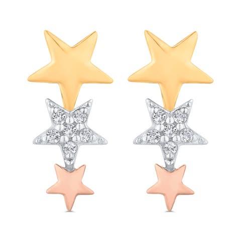 10K Three-Tone Gold Graduated Three Star Drop Diamond Earrings (I-J, I1)