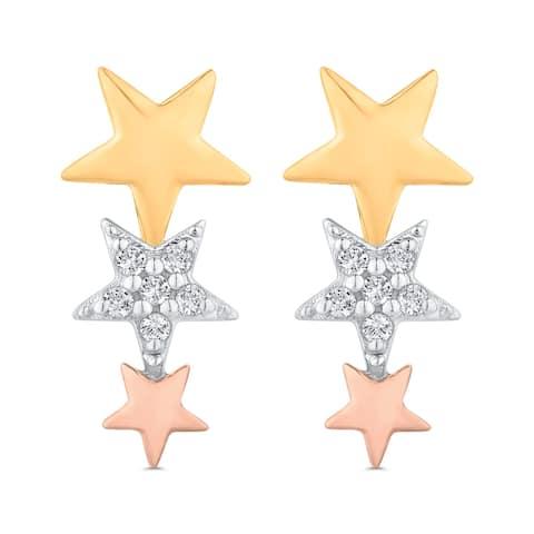 14K Three-Tone Gold Graduated Three Star Drop Diamond Earrings (I-J, I1)
