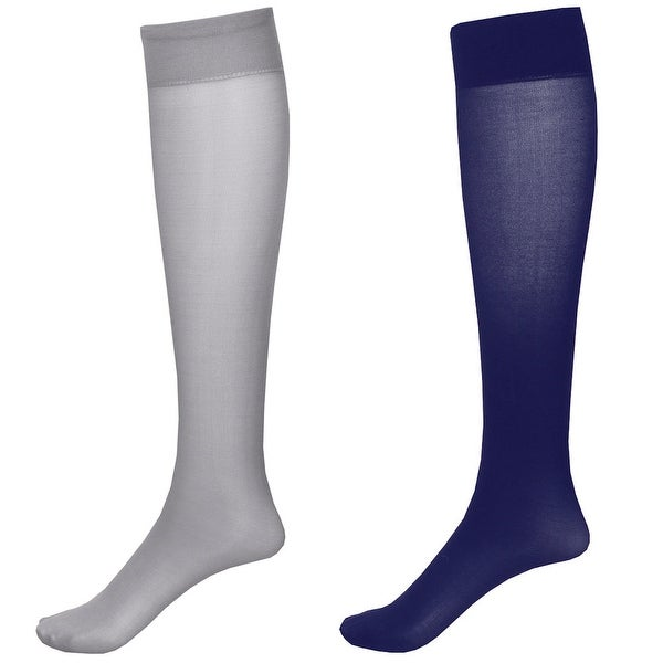 Mild Support 2 Pair Knee High Trouser Socks with 8-15 mmHg Compression - Navy/Grey - Medium