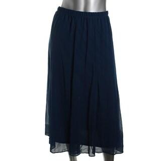 Onyx Nite Womens Chiffon Mid-Calf A-Line Skirt - S