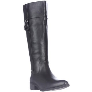 Easy Spirit Dominaw Wide Calf Comfort Riding Boots - Black Leather