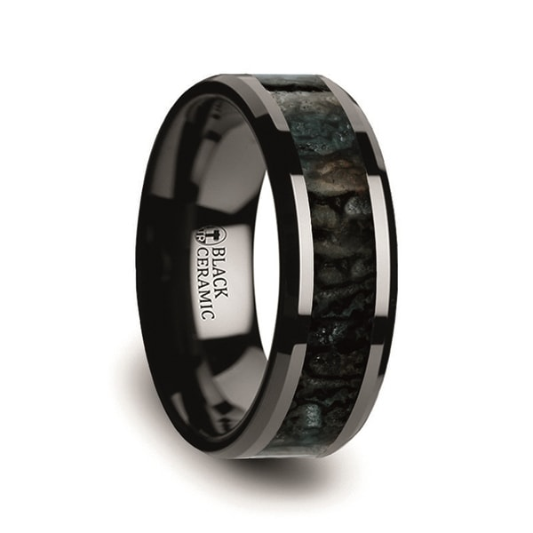PERMIAN Blue Dinosaur Bone Inlaid Black Ceramic Beveled Edged Ring 8mm