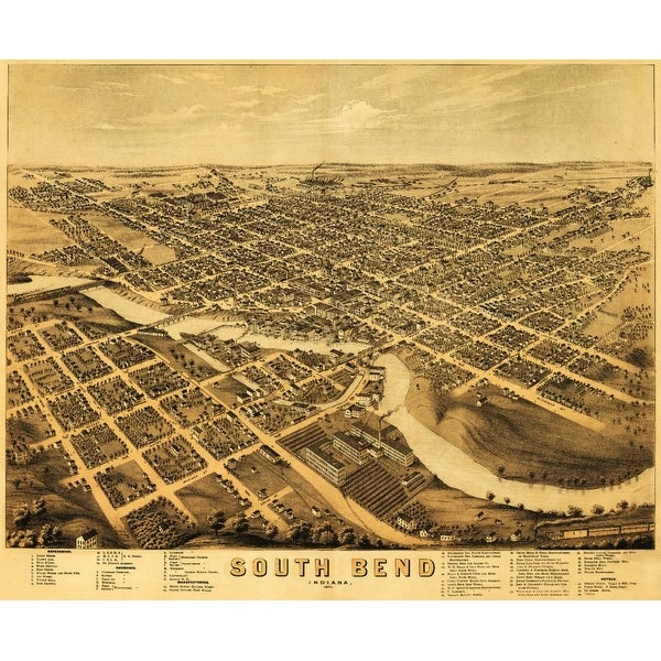 South Bend, IN - (1874) - Panoramic Map (Acrylic Wall Clock)