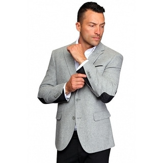 MZW-516 GREY Men's Manzini Fancy Solid gray wool sport coat with Wool plaid trim on the elbow patch and cuff of the sleeve.
