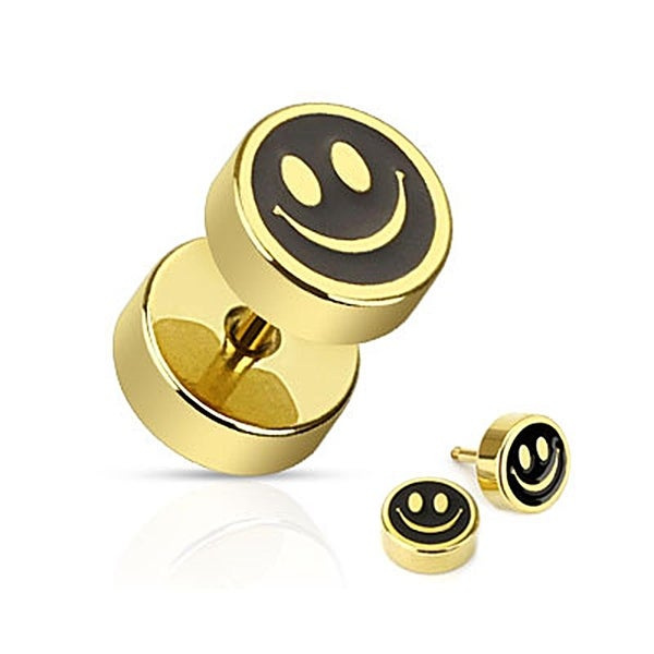 Smiley Face with Black Inlay Fake Plug Gold IP Over 316L Surgical Steel (Sold Individually)
