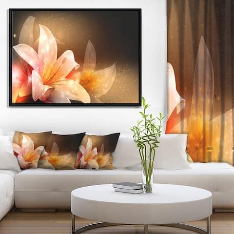 Porch & Den 'Shining Brown Fractal Flower' Floral Framed Canvas Print