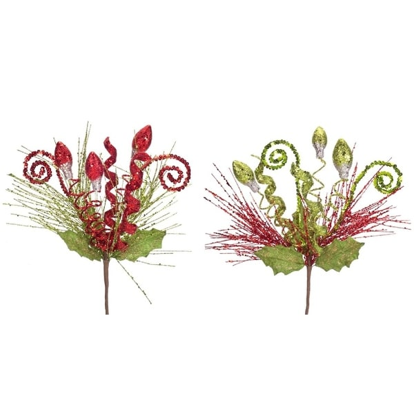 Pack of 12 Festive Red and Green Spirals and Ornaments Artificial Christmas Sprays 15.5""