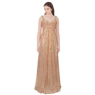 La Femme Show Stopping Sequin Embellished Evening Gown Dress Gold - 0