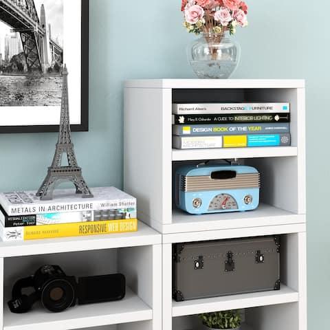 Way Basics Modular Connect Shelf Cube Cubby Storage Stackable Closet Organizer Display Shelf, White