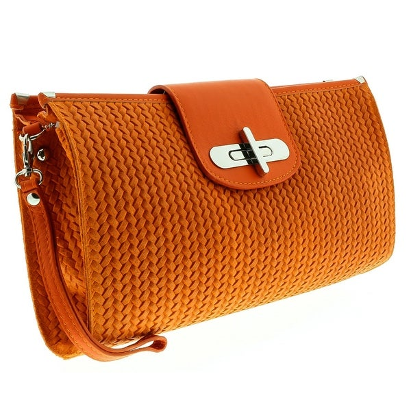 HS1156 AR CORA Orange Leather Clutch/Shoulder Bag - 13-8.5-2