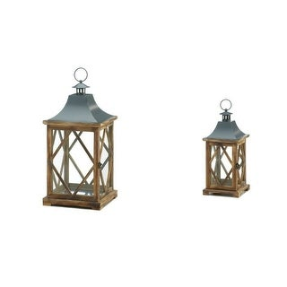 One Small and One Large Diamond Motif Wooden Lantern