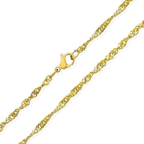 Singapore Twisted Rope Singapore Chain Gold Plated Stainless Steel