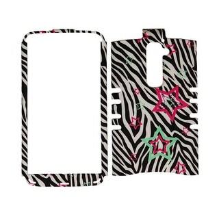 Unlimited Cellular Rocker Snap-On Case for LG G2 (Stars on Zebra)