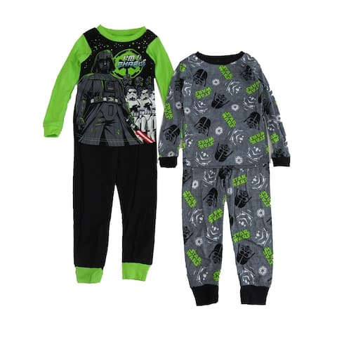 Disney Boys Black Green Star Wars Darth Vader 2 pair 2pc Pajama Sets