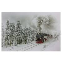 """Large Fiber Optic and LED Lighted Winter Woods with Train Canvas Wall Art 23.5"""" x 15.5"""" - White"""