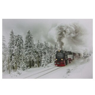 "Large Fiber Optic and LED Lighted Winter Woods with Train Canvas Wall Art 23.5"" x 15.5"" - White"