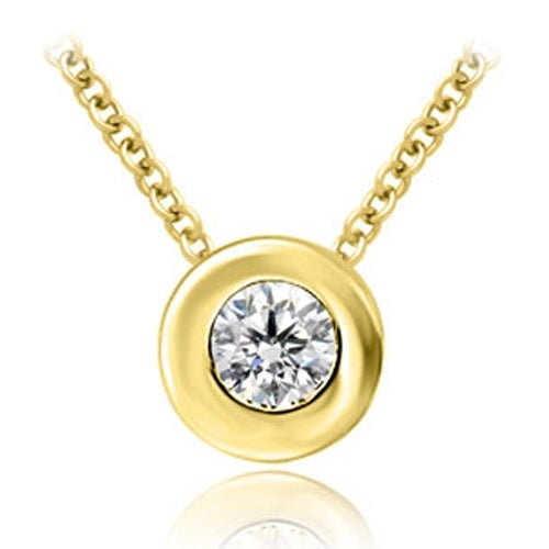 0.50 cttw. 14K Yellow Gold Round Cut Diamond Solitaire Bezel Pendant - White H-I