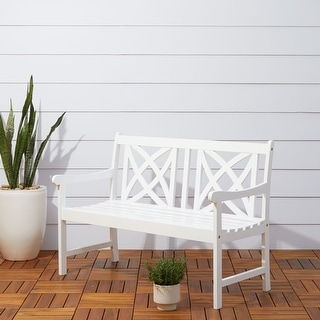 Link to Surfside Outdoor Wood Garden 4-foot Bench by Havenside Home Similar Items in Patio Furniture