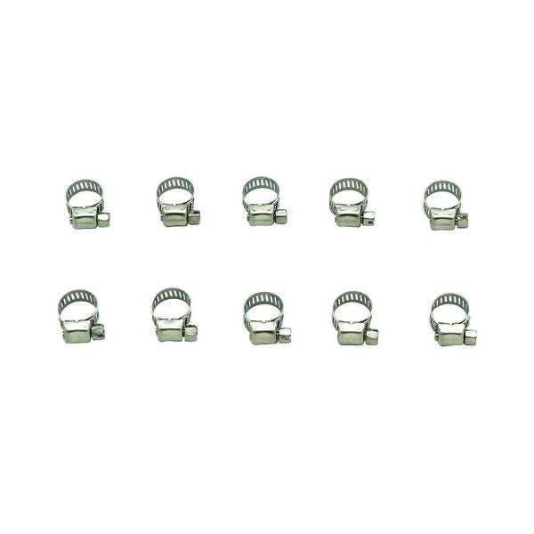 "Industro 1/4"" - 3/8"" Durable Stainless Steel Hose Clamps, Silver - 10 Pack"