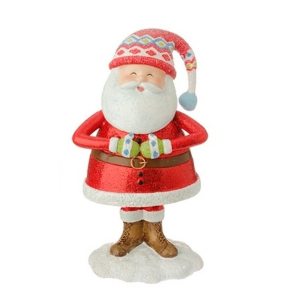 """7.5"""" Merry & Bright Jolly Santa Holding Tummy Glitter Drenched Christmas Figure Decoration - RED"""