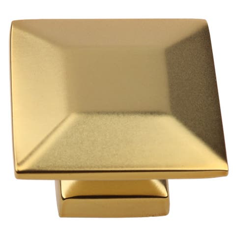 GlideRite 25-Pack 1-3/8 in. Gold Square Cabinet Knobs - Brass Gold