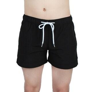 Unique Bargains Chetstyle Authorized Men Polyester Fiber Breathable Swim Trunk Black W28