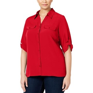 NY Collection Womens Plus Button-Down Top Textured Elbow Sleeve