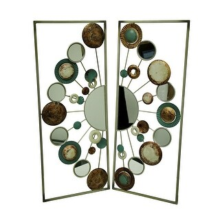 Circle Scatter Two Piece Metal and Mirrors Wall Art Sculpture Set