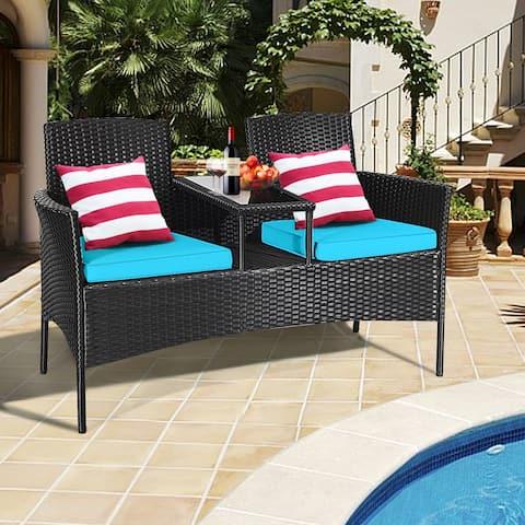 Gymax Rattan Wicker Patio Conversation Set w/ Table Turquoise Cushion - 54.5'' x 24'' x 33.5'' (L x W x H)