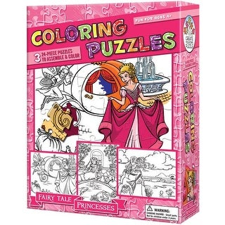 Coloring Fairy Tale Princesses 3 Pack 24 Piece Puzzle
