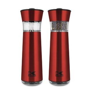 Kalorik Easygrind Electric Gravity Salt and Pepper Grinder Set Red
