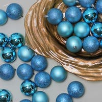 "60ct Turquoise Blue Shatterproof 4-Finish Christmas Ball Ornaments 2.5"" (60mm)"