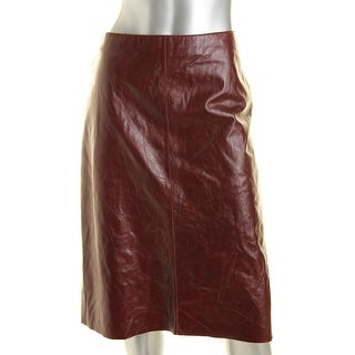 Kenneth Cole New York Womens Leather Pockets Straight Skirt - 12