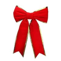 """36"""" x 50"""" Commercial Structural 2-Loop Red and Gold Outdoor Christmas Bow"""