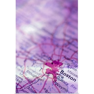 """Boston on map"" Poster Print"
