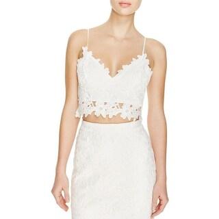 Bardot Womens Crop Top Lace Overlay Sleeveless