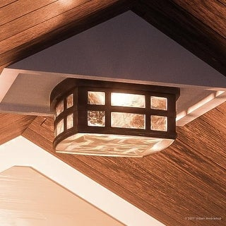 """Luxury Craftsman Outdoor Ceiling Light, 5.75""""H x 12""""W, with Tudor Style, Highly-Detailed Design, Parisian Bronze Finish"""