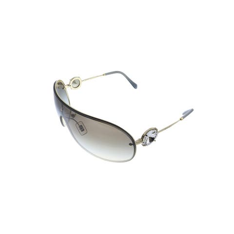Miu Miu MU 67US ZVN5O0 37mm Womens Silver Frame Grey Mirror Lens Sunglasses