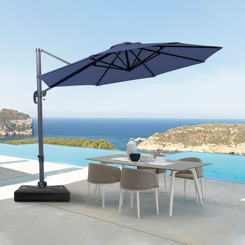 10 FT Patio Cantilever Umbrella Outdoor Hanging Offset Umbrella
