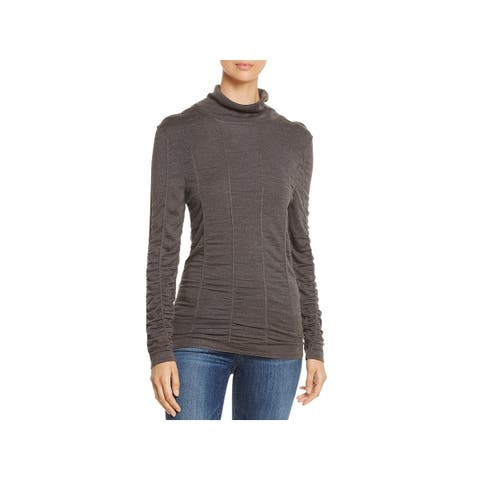 Nic + Zoe Womens Scrunched Up Turtleneck Top Silk Blend Long Sleeves