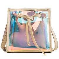 QZUnique Women's Summer Drawstring Bucket Laser Transparent Beach Bag Crossbody Tote Bag Shoulder Bag