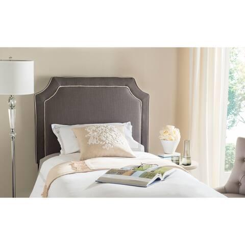 SAFAVIEH Dane Charcoal/ Light Grey Piping Upholstered Headboard (Twin)