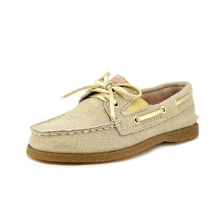 Sperry Top Sider A/O Slip On Toddler Moc Toe Leather Gold Boat Shoe