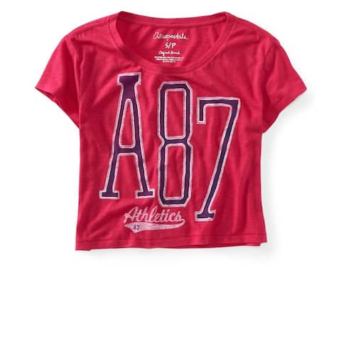 Aeropostale Womens Cropped A87 Athletics Graphic T-Shirt, Pink, X-Large