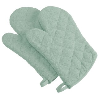 Set of 2 Light Sage Terry Cloth Oven Mitts 13""