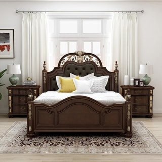 Furniture of America Urex Cherry 3-piece Bedroom Set with 2 Nightstands