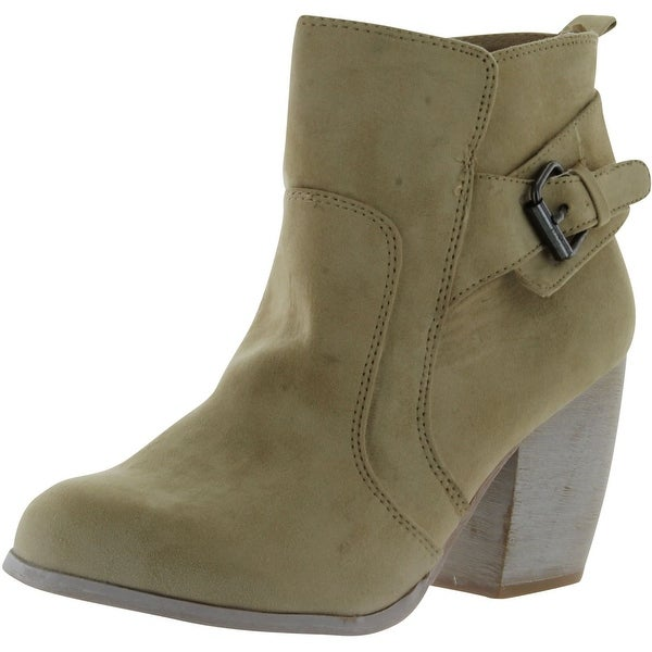 Qupid Maze-09 Buckle Detailed Western Cowboy Inspired Stacked Heel Ankle Boot... - sand white powder