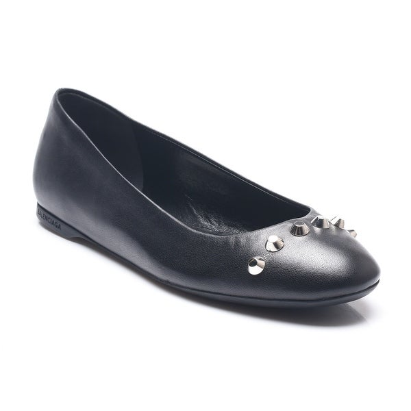 Balenciaga Women's Leather Studded Ballerina Shoes Flats