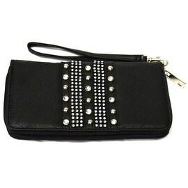 Studded Sparkling Wristlet Clutch Wallet Wrist Strap, Black